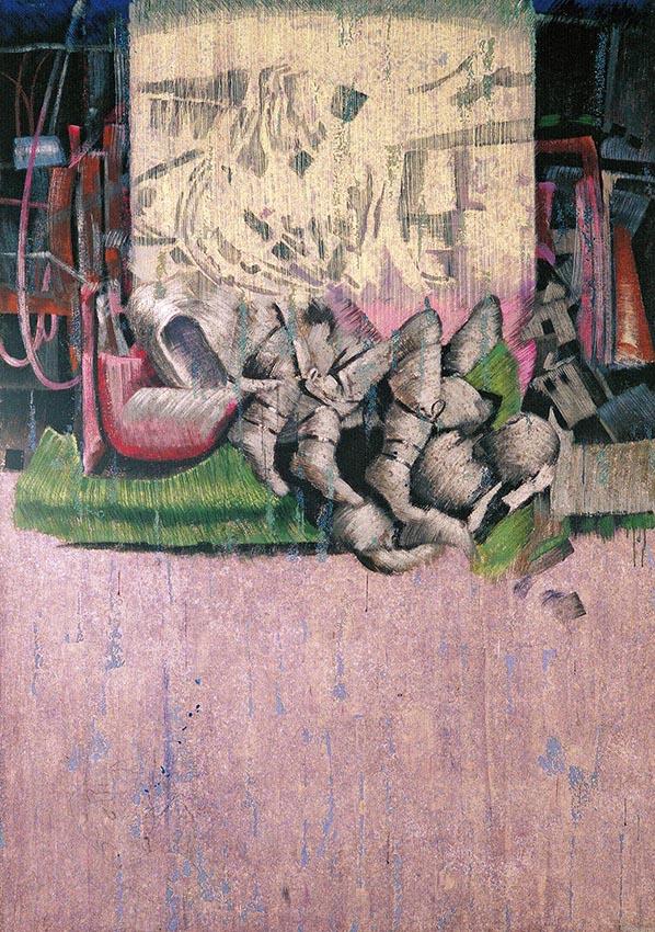 Exvoto cinematográfico. 1987. Temple sobre lino. 202 x 124 cm..