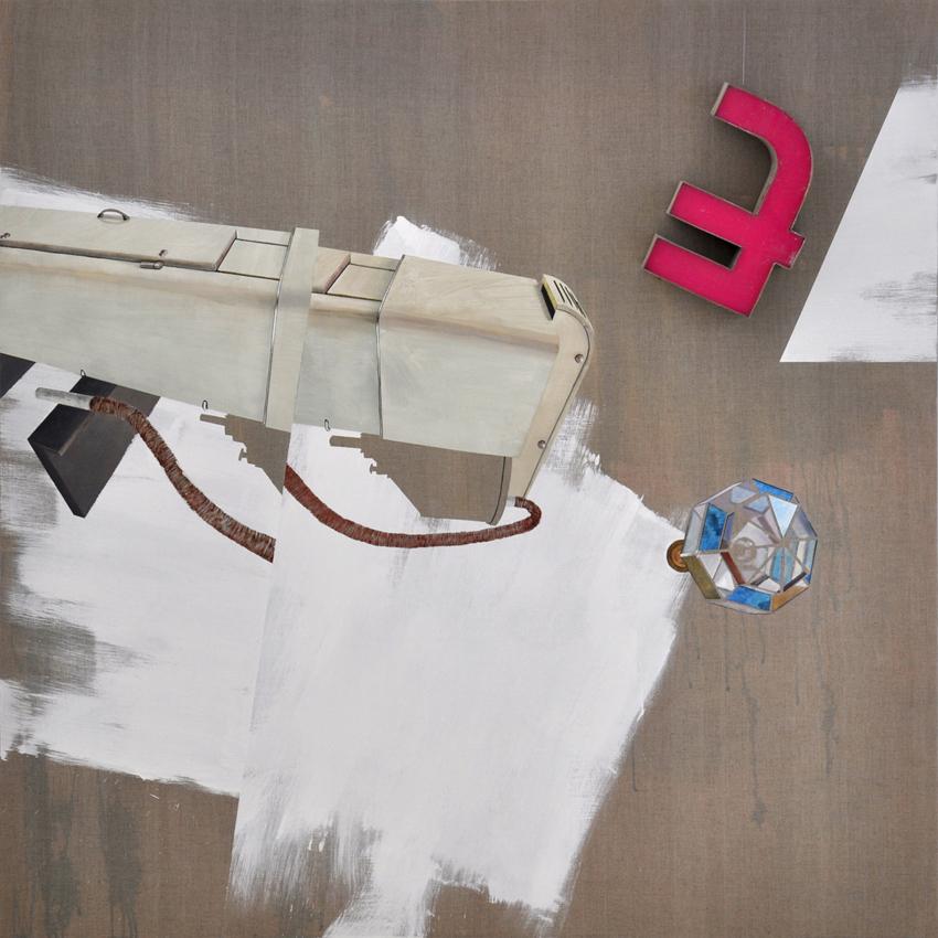 Acúfeno. Acrílico sobre lienzo + objeto + composición musical. 2015, 190x190 cm