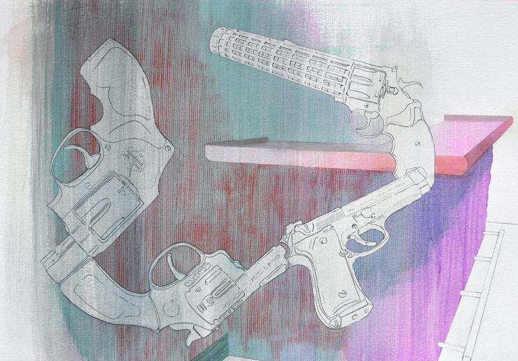 Mueble•Bar (Suite Sinatra). Acrílico y grafito sobre papel. 2010, 45 x 65 cm